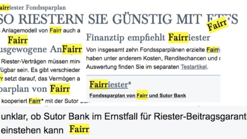 Fair Riester